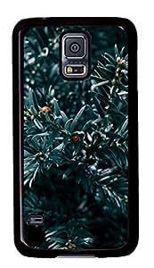 Diy Fashion Case for Samsung Galaxy S5,Black Plastic Case Shell for Samsung Galaxy S5 i9600 with Blue Plant