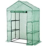 Outsunny 56'' x 29'' x 76'' Portable Walk-in Garden Greenhouse with Built in 3-Tier Shelves