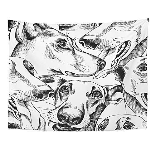 Tapestry Greyhound - Emvency Tapestry Wall Hanging Polyester Fabric Pattern of Character Dog Portraits Black and White Greyhound Home Decor for Living Room Bedroom Dorm 60x80 Inches