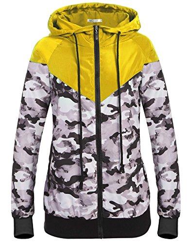 New ELESOL Women's Camo Lightweight Windbreaker Active Outdoor Sport Hooded Jacket Coat hot sale