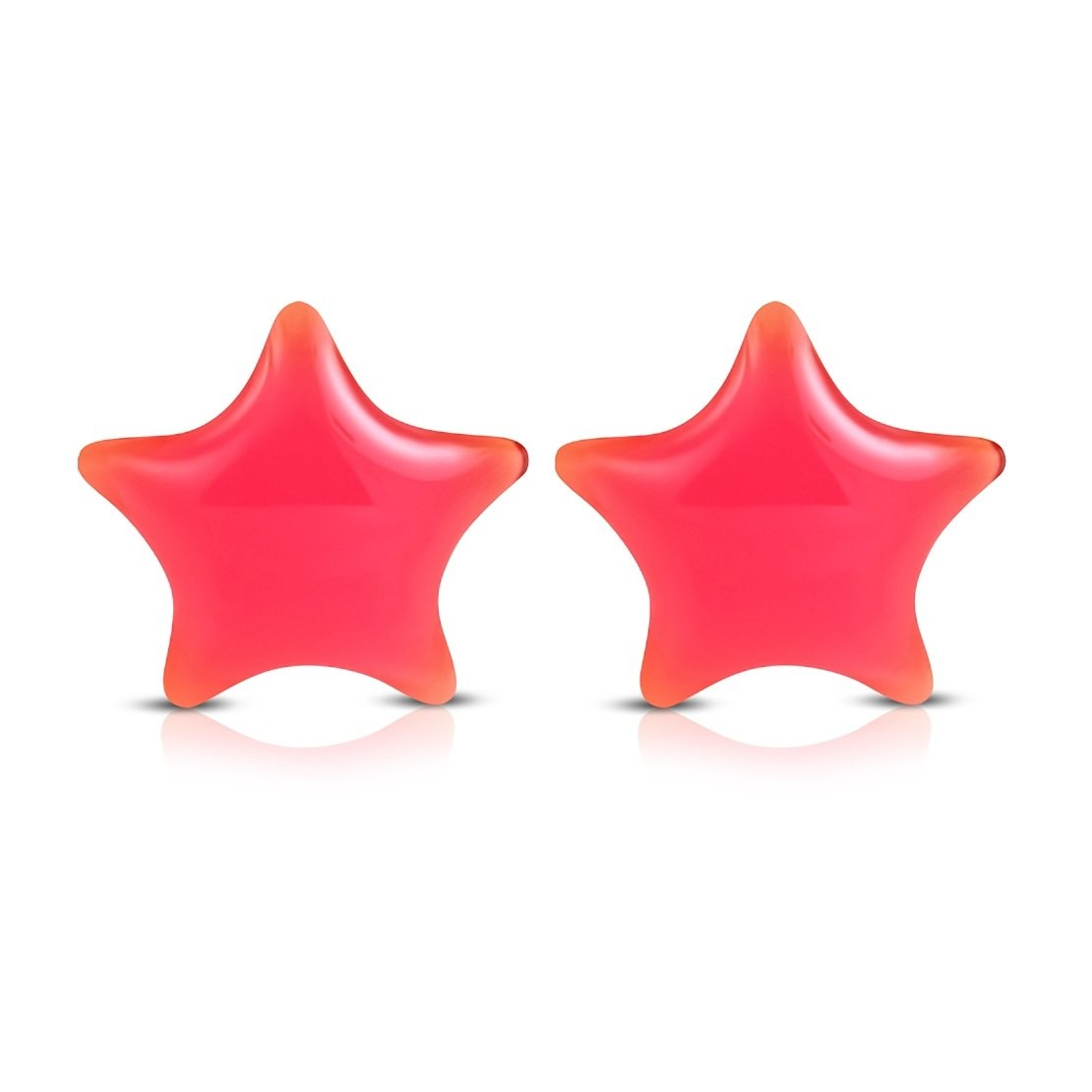 Stainless Steel 2 Color with Resin Pink Star Stud Earrings pair