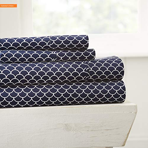 (Mikash New Soft 4 Piece Sheet Set Scallop Patterned Full Navy | Style 84600989)