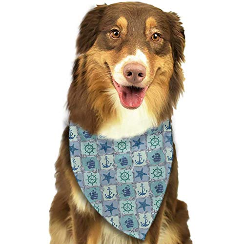 Dog Bandana Ship Nautical Themed Artwork with Marine Rope Starfish Wheel Anchor and Ship Sailors Knot W27.5 xL12 Scarf for Small and Medium Dogs and Cats
