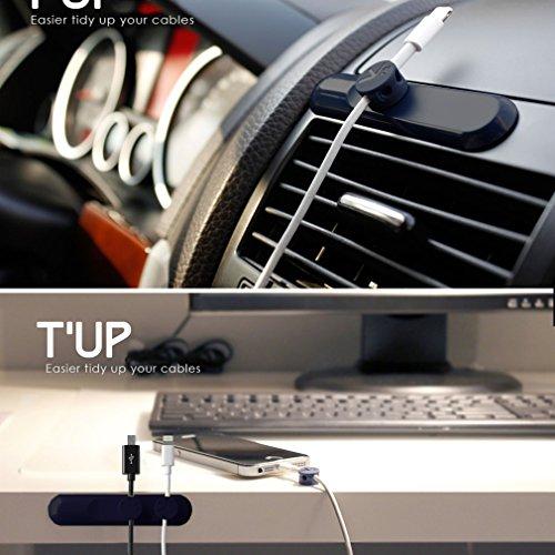 Philonext magnetico cavo clip, cavo di Desktop Management, multiuso cavo organizzatore con fibbie cavo 3-Pack - per cavo cellulare (meno di 4mm), nero