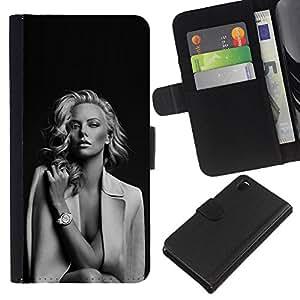 A-type (Hollywood Movies Black White) Colorida Impresión Funda Cuero Monedero Caja Bolsa Cubierta Caja Piel Card Slots Para Sony Xperia Z3 D6603