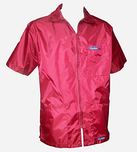 BARBERSHOP-BOYS 60'S 3 POCKET BARBER JACKET ULTRALIGHT NYLON POLY FABRIC HAIR REPELLENT ALL SIZES (RED) by BARBERSHOP-BOYS
