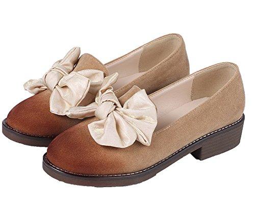 Amoonyfashion Vrouwen Laag Hakken Frosted Solide Pull-on Ronde-teen Pumps-schoenen Kameel