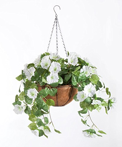 "(OakRidge Miles Kimball Fully Assembled Artificial Petunia Flower Hanging Basket, 10"" Diameter and 18"" Chain – Polyester/Plastic Flowers in Metal and Coco Fiber Liner Basket for Indoor/Outdoor)"