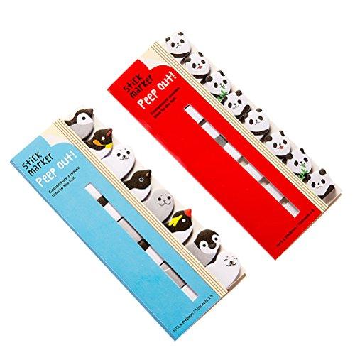 NUOLUX 2PCS Memo Pad Sticky Notepaper Note Kawaii Cartoon Animal Bamboo Panda Bear Penguin Sticker Office School Supplies