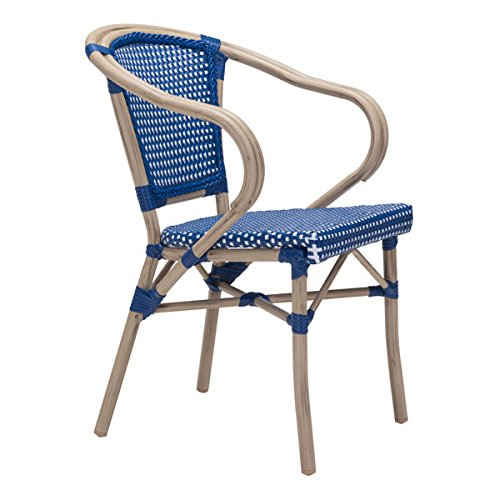 Basketweave Patio Chair (HomeRoots Furniture Paris Dining Arm Chair Navy Blue&White)