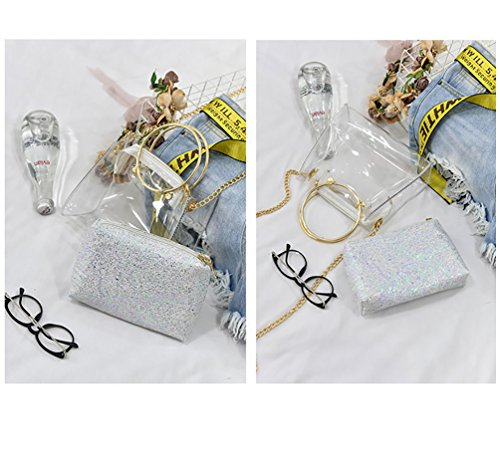 Silver with Chain Bag Interior PVC Handbag Shoulder Crossbody ViewHuge Transparent Pocket Pqva71