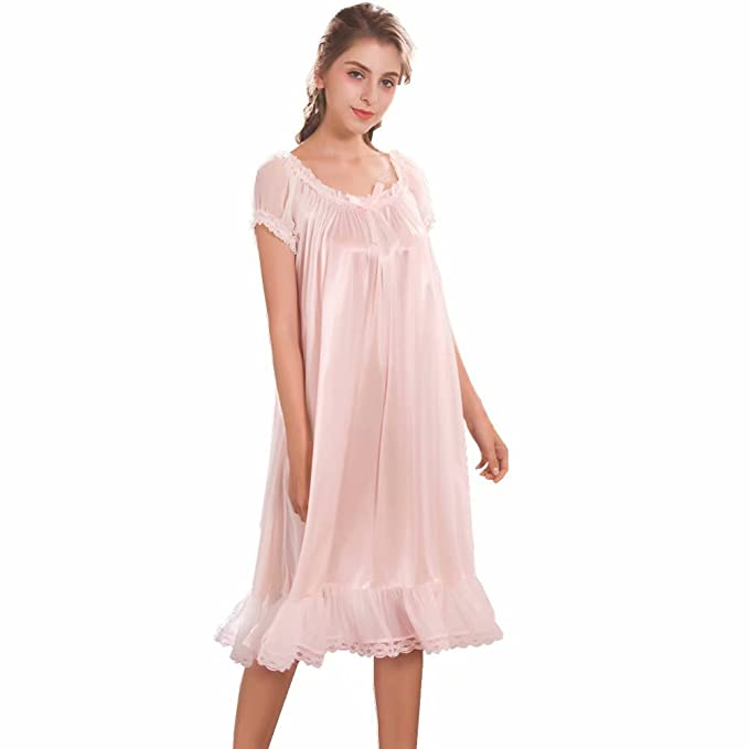 00884fc992bd Image Unavailable. Image not available for. Colour: Flaydigo Women's  Nightgowns Short Sleeve Satin Silk Plus Size Pink Victorian Nightdress