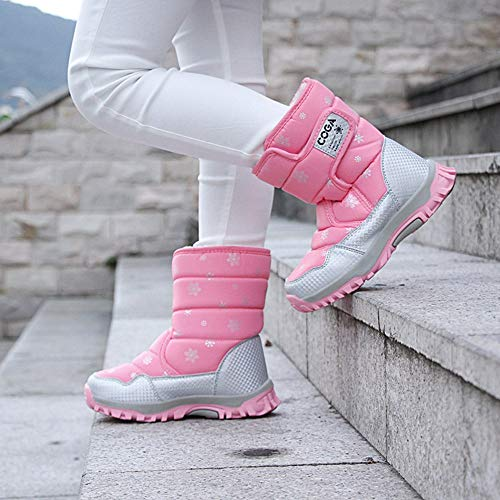 Image of MARITONY Kid's Snow Boots for Girls and Boys, Warm Cozy Waterproof Winter Safety Glitter Puffer Shoes
