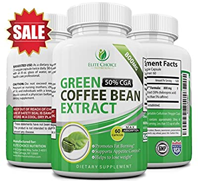 Maximum Strength Green Coffee Bean Extract - Highest Dose 1600mg per Day - 100% Pure & Natural - Appetite Suppressant & Extreme Fat Burner - Made with 50% Chlorogenic Acid for Best Weight Loss Results