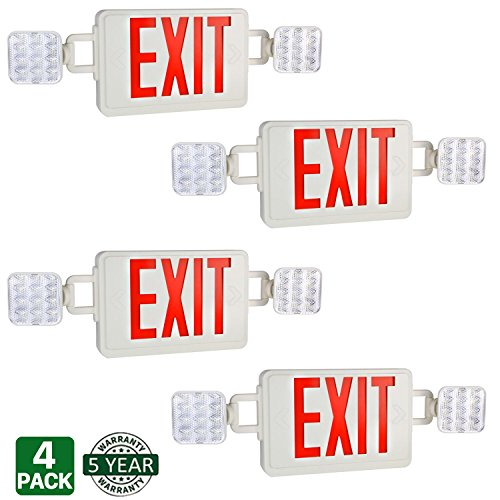 Hykolity Double Face Red Exit Sign LED Combo Emergency Light with Adjustable Two Head and Backup Battery - Pack of 4 by hykolity