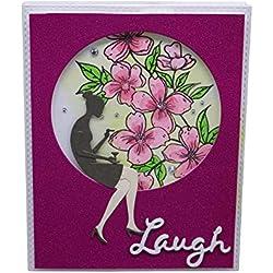 Weite Cutting Dies Cut Metal Scrapbooking Happy Birthday Card Rainbow Nesting Die for Embossing Photo Album Decorative DIY Paper Cards Making Craft (B)