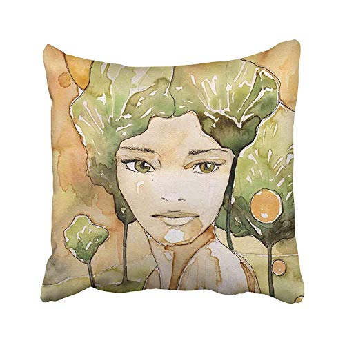 Ashasds Watercolor Painting Portrait of Beautiful Woman The Original Coffee Stains and Paints Autumn Brown Face Throw Pillow Covers for Home Indoor Comfortable Cushion Standard Size 18x18 in]()