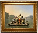 Bingham Lighter Relieving a Steamboat Aground - Gold Framed Canvas Print Repro 22x26