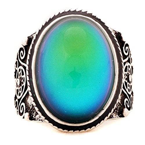 Eunlop Mood Ring Changing Color Antique Sculpture Sterling Silver Vintage Rings for Kids Women - Antiques Sculpture