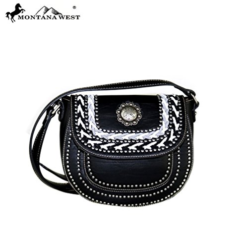 Montana West Concho Collection Crossbody Messenger Saddle Bag Handbag (Black)