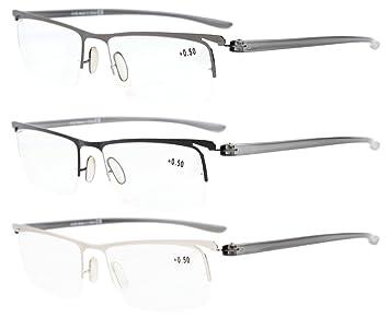 709751dd627f Eyekepper 3-Pack Plastic Temple Lightweight Half-rim Reading Glasses Men  Women Mix +