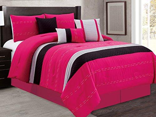 Empire Home 7 Piece Solid Soft Oversized Comforter Set 21150 - Pink & Black (King)