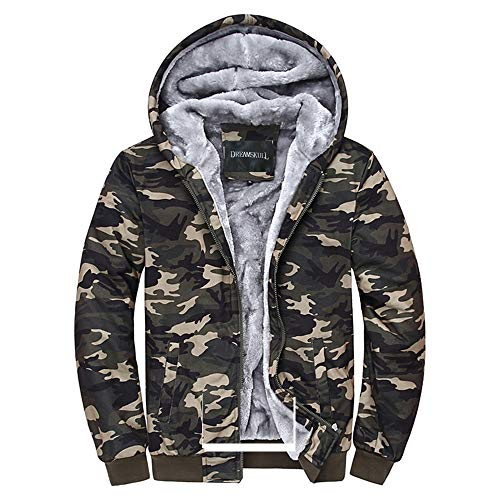 ouflage Coat Cotton Casual Hooded Hoodies Fleece Cashmere Winter Jacket (XL) ()