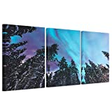 Kreative Arts - 3 Pieces Modern Canvas Painting Wall Art Blue Green Modern Aurora Borealis Iceland Jokulsarlon Northern Light Canvas Prints Picture Painting Framed Ready to Hang (Northern Lights 4)