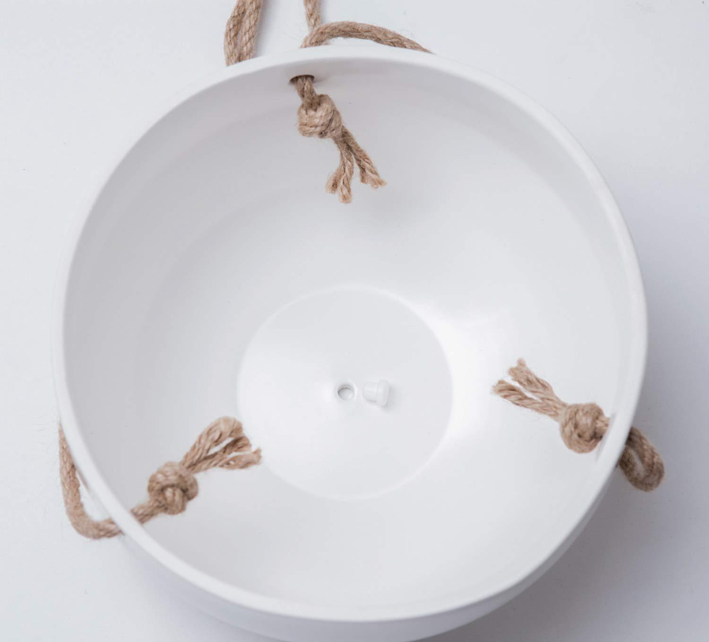 Mkono Moderner Keramik Hange Pflanzgefass Fur Zimmerpflanzen Porzellan Hangend Blumenhalter 20 3 Cm Geometrischer Blumentopf Mit Jute Seil Weiss