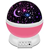 Airsspu Night Light LED Moon and Star Romantic Rotating Sky & Cosmos Cover Projector Night Lighting for Children Adults Bedroom, Mood/Decorative Light, Baby Nursery Light, Living Room Gift (Pink)