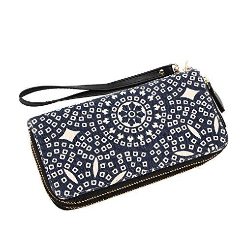 Geldtasche Damen Geldbörse Reißverschluss-Brieftaschen groß Kapazität Canvas Geldbeutel Tasche Damen Portemonnaie - Mescara (Schwarz-weiß) Bohemian Blau