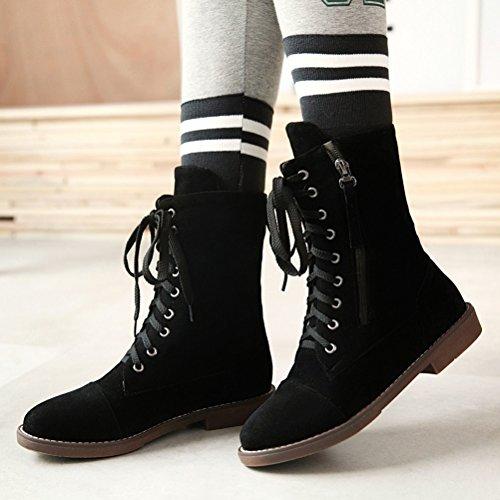 Agodor con Classic Negro para botines planos mujer con Shoes cordones cremallera Toe wWBwqr74g