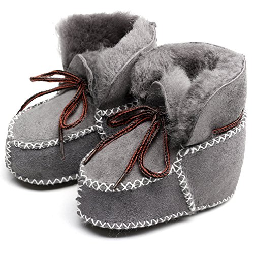 Genuine Leather Snow Boots - Winter Baby Snow Boots Infants Warm Shoes Fur Wool Girls Baby Booties Sheepskin Genuine Leather Boy Boots (14cm, Grey)