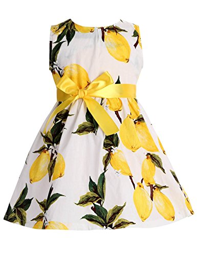 Cheap Dress For Sale (Fubin Kid Girl Floral Cotton Dresses Summer Clothes yellow lemon Height 57''/7-8 years)