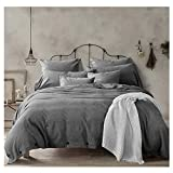 Doffapd 3pc Washed Cotton Wrinkled Soft Queen Duvet Cover Set Dark Gray Deal (Small Image)