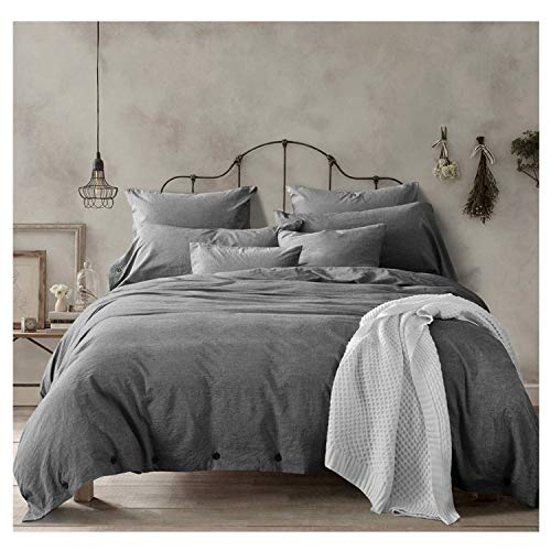 Doffapd 3pc Washed Cotton Wrinkled Soft Queen Duvet Cover Set Dark Gray Deal (Large Image)