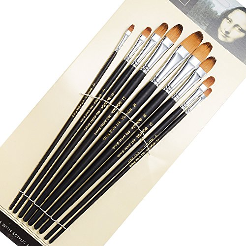 Long Filbert - 9 Pieces Artist Paint Brushes Nylon Filbert Paint Long Handle Value Set for Oils, Acrylic, Gouache & Watercolor Painting-Lightwish (Filbert Paint)