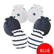 HaloVa Baby Gloves, 0-3 months Newborn Infant Toddler Boys Girls No Scratch Mittens, 100% Cotton, Soft and Comfortable, Dark Blue