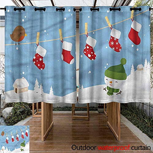 Sunnyhome Outdoor Window Curtains Christmas Socks Hanging Bird for Patio/Front Porch W 63