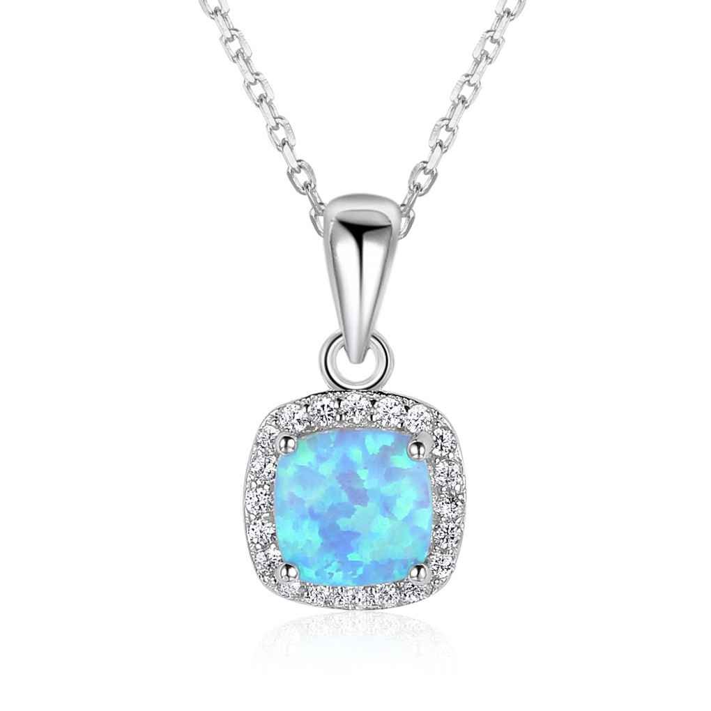 Minzhi Classic Lady 925 Sterling Silver Square Pendant Necklace Girl Blue Opal Crystal Shinning Chain Lady Jewelry