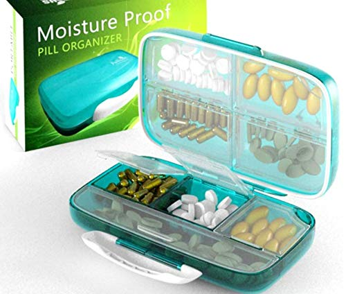 Moisture Proof Pill Organizer Airtight Pill Box WaterProof Large Pill Dispenser Home Travel Supplement Holder Portable Vitamin Sorter Jumbo size 8 compartment Airtight Vitamin Container Daily Medicine