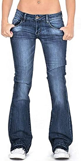FRPE Womens Slim Fit Low Waisted Denim Pants Bell Bottom Denim Jeans