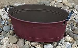 Zinc bañera Shabby Vintage Style trog bañera pflanzwanne Macetero Rojo 63,5x 43x 24,5cm 50050