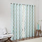 93 curtain panel grommet - Madison Park Aqua Curtains for Living Room, Contemporary Modern Grommet Curtains for Bedroom, Bond Print Modern Linen Window Curtains, 50X84, 1-Panel Pack
