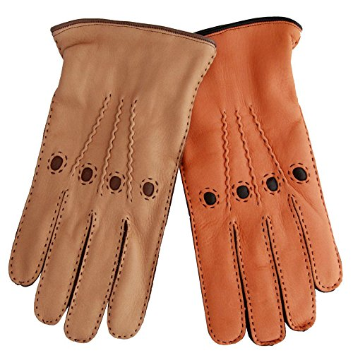 Fratelli Orsini Men's Italian Cashmere Lined Deerskin Dress Driving Gloves Size 9 Color Saddle - Deerskin Dress