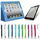 全12色 オートスリープ機能付(自動ON/OFF) iPad4・iPad3・iPad2専用レザーケース タッチペン 保護フィルム3点セット (スカイブルー)