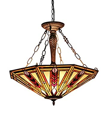 Chloe Lighting CH35001RM25-UH3 Moasic Jayden, Tiffany-style Mission 3 Light Inverted Ceiling Pendant Fixture 25-Inch Shade, Multi-colored