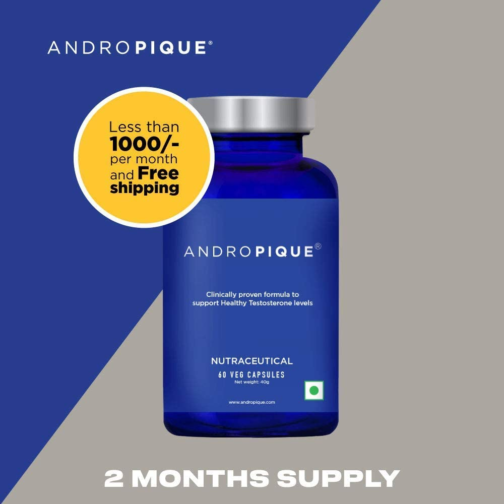 ANDROPIQUE – Testosterone Booster Supplement for Men, 2 Month Supply (60 Servings) Clinically Proven Natural Testosterone Booster, Increases Free Testosterone, Promotes Fat Loss, Once per Day Serving