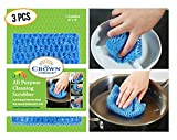 NO ODOR Dish Cloth for All Purpose Dish Washing (3PK) | No Mildew Smell from Sponges, Scrubbers, Wash Cloths, Rags, Brush | Outlast ANY Kitchen Scrubbing Sponge or Cotton Dishcloth