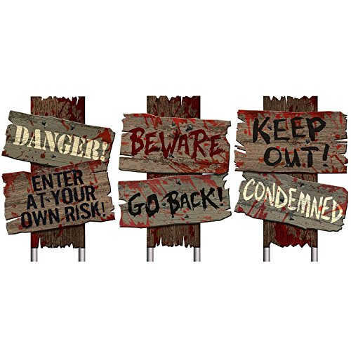 Halloween Decorations (Amscan Creepy Cemetery Halloween Party Assorted Warning Sign Decoration (Pack of 3), Brown, 12